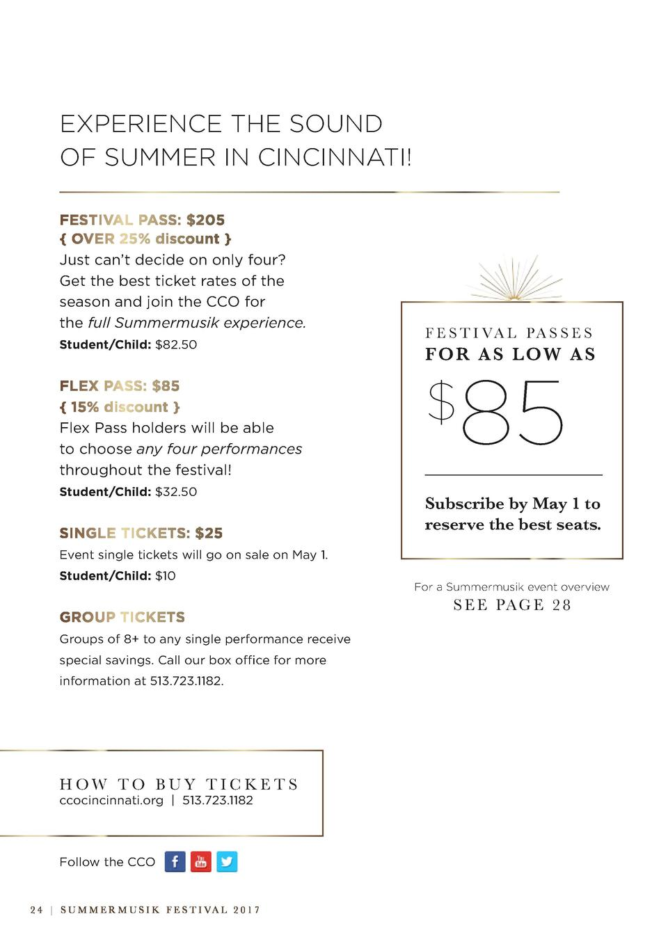 EXPERIENCE THE SOUND OF SUMMER IN CINCINNATI  FESTIVAL PASS   205   OVER 25  discount   Just can   t decide on only four  ...