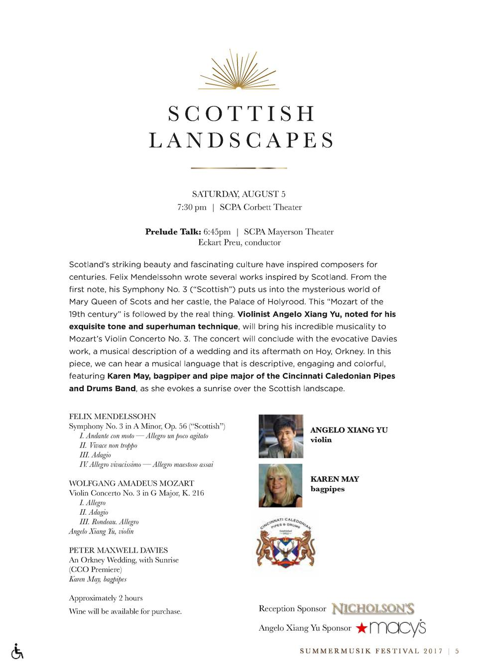 SCOTTISH LANDSCAPES SATURDAY, AUGUST 5 7 30 pm   SCPA Corbett Theater Prelude Talk  6 45pm   SCPA Mayerson Theater Eckart ...