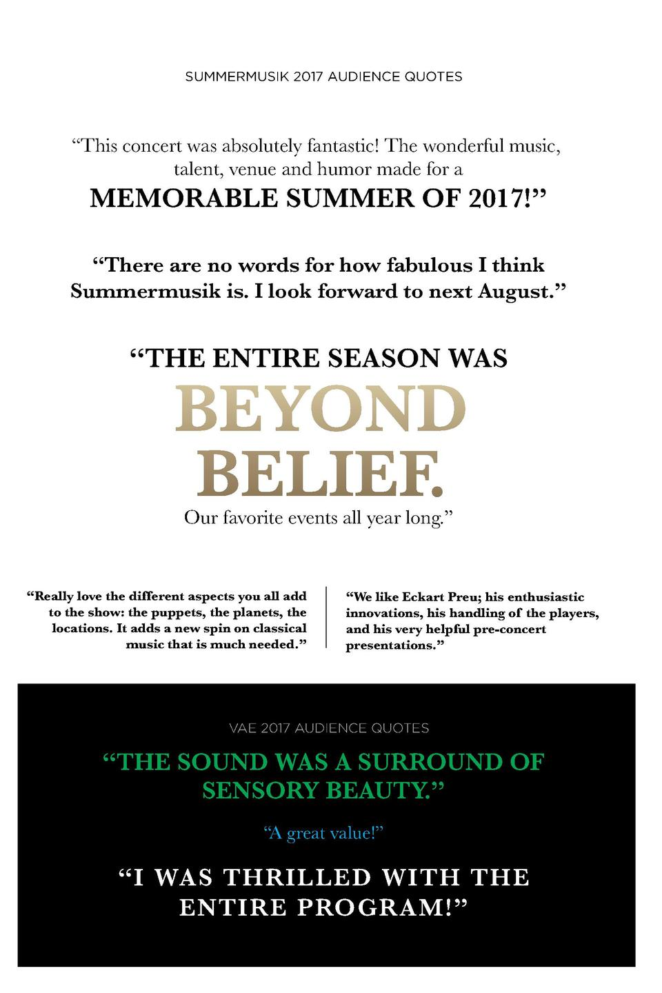 SUMMERMUSIK 2017 AUDIENCE QUOTES     This concert was absolutely fantastic  The wonderful music, talent, venue and humor m...