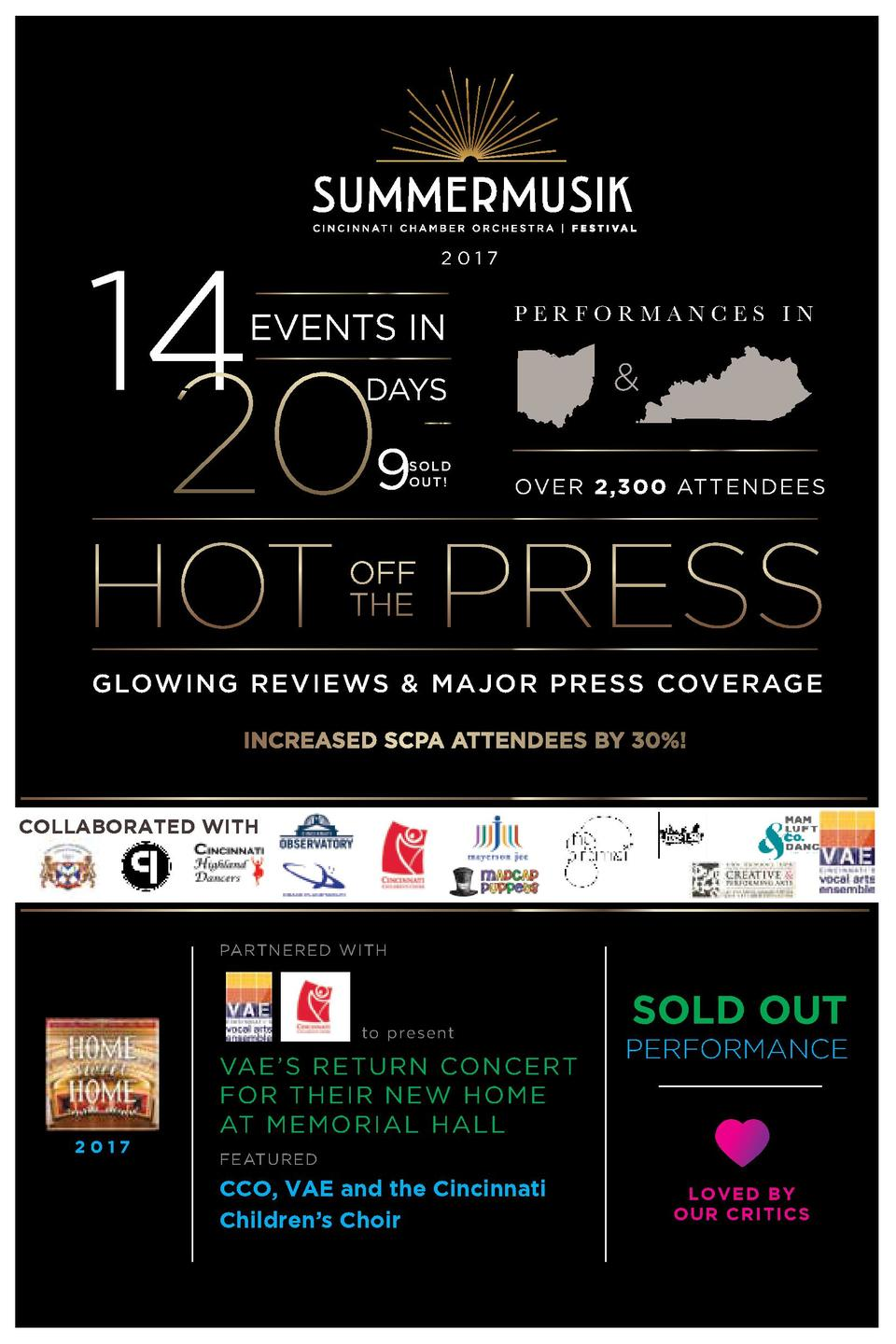 14  2017  EVENTS IN  PERFORMANCES IN     DAYS    9  SOLD OUT   OVER 2,300 ATTENDEES  GLOWING REVIEWS   MAJOR PRESS COVERAG...