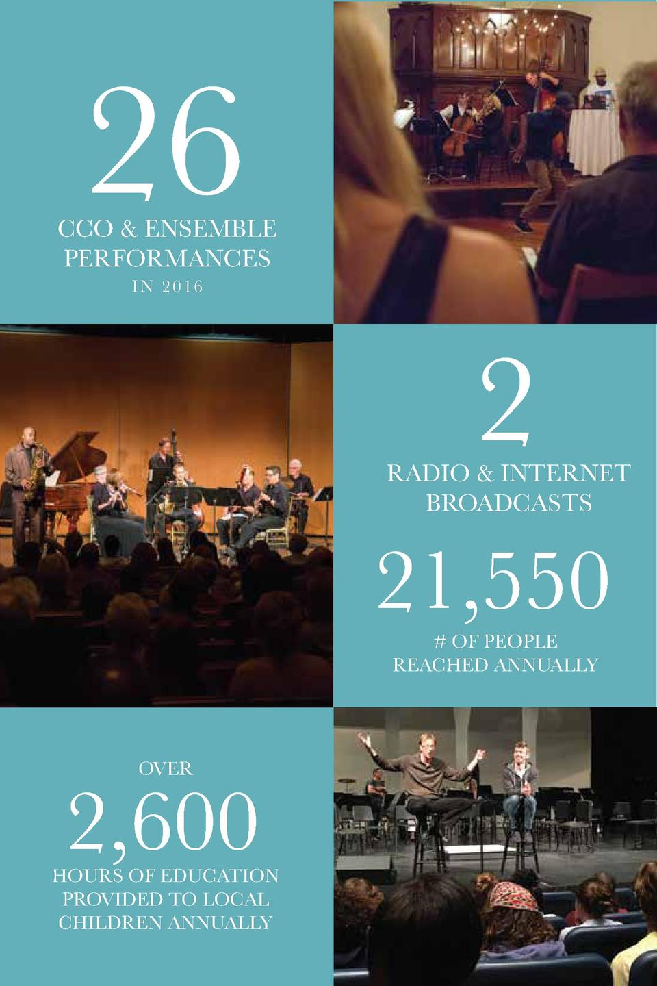 26  CCO   ENSEMBLE PERFORMANCES IN 2016  2  RADIO   INTERNET BROADCASTS  21,550   OF PEOPLE REACHED ANNUALLY  OVER  2,600 ...