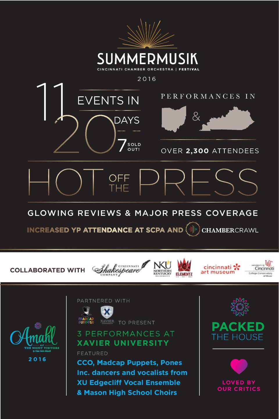 11  2016  EVENTS IN  PERFORMANCES IN     DAYS    7  SOLD OUT   OVER 2,300 ATTENDEES  GLOWING REVIEWS   MAJOR PRESS COVERAG...