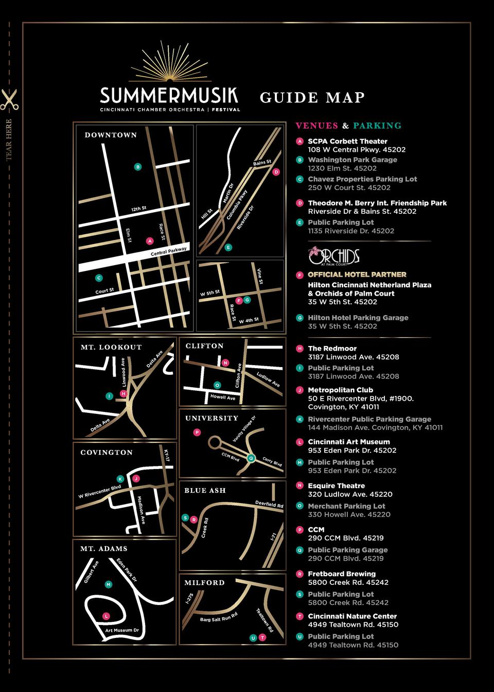TEAR HERE  GUIDE MAP V E N U E S   PA R K I N G  D OW N TOW N  A  Bains  B  B  St  D C  Chavez Properties Parking Lot 250 ...