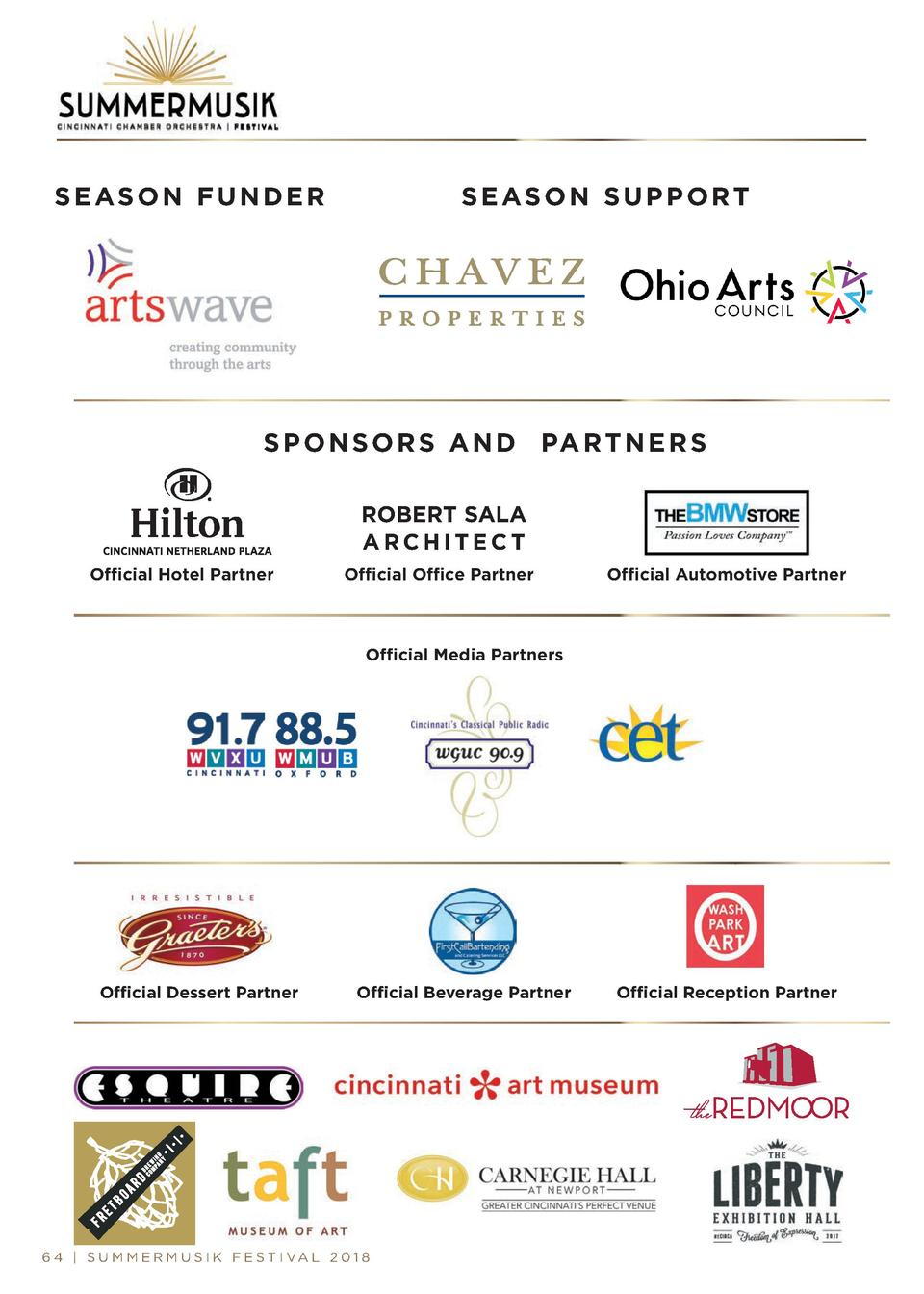 SEASON FUNDER  SEASON SUPPORT  S P O N S O R S A N D PA R T N E R S ROBERT SALA ARCHITECT Official Hotel Partner  Official...
