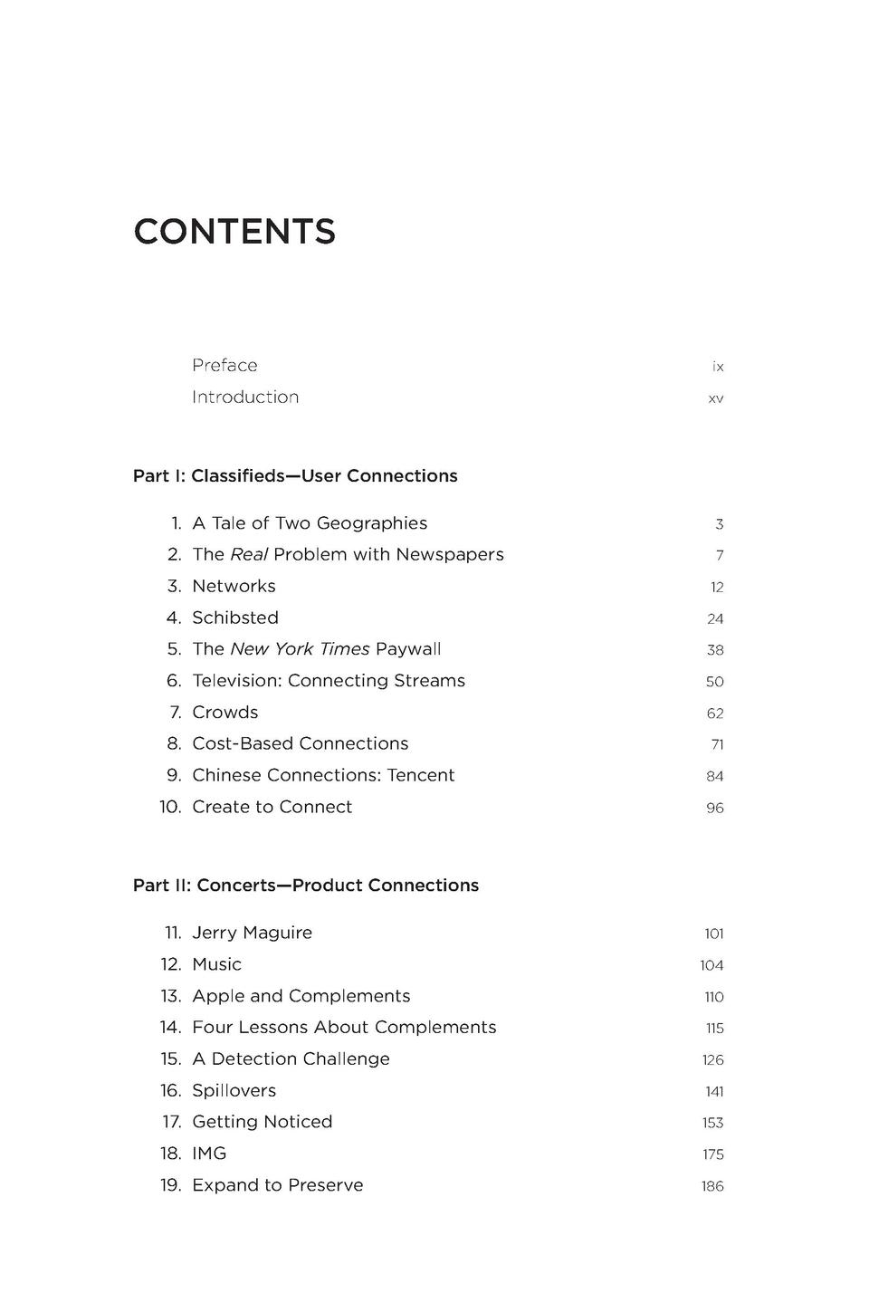 CONTENTS  Preface Introduction  ix xv  Part I  Classifieds   User Connections 1. A Tale of Two Geographies 2. The Real Pro...