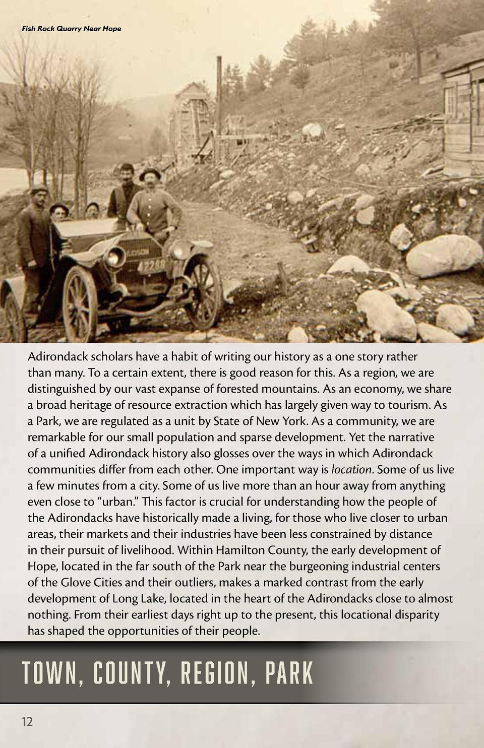 Fish Rock Quarry Near Hope  Adirondack scholars have a habit of writing our history as a one story rather than many. To a ...
