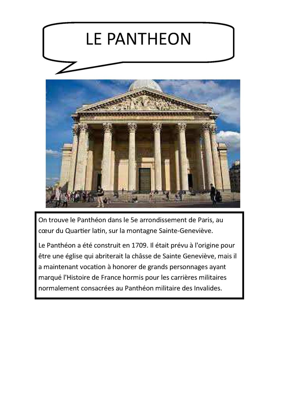 LE PANTHEON  On trouve le Panth  on dans le 5e arrondissement de Paris, au c  ur du QuarBer laBn, sur la montagne Sainte-G...