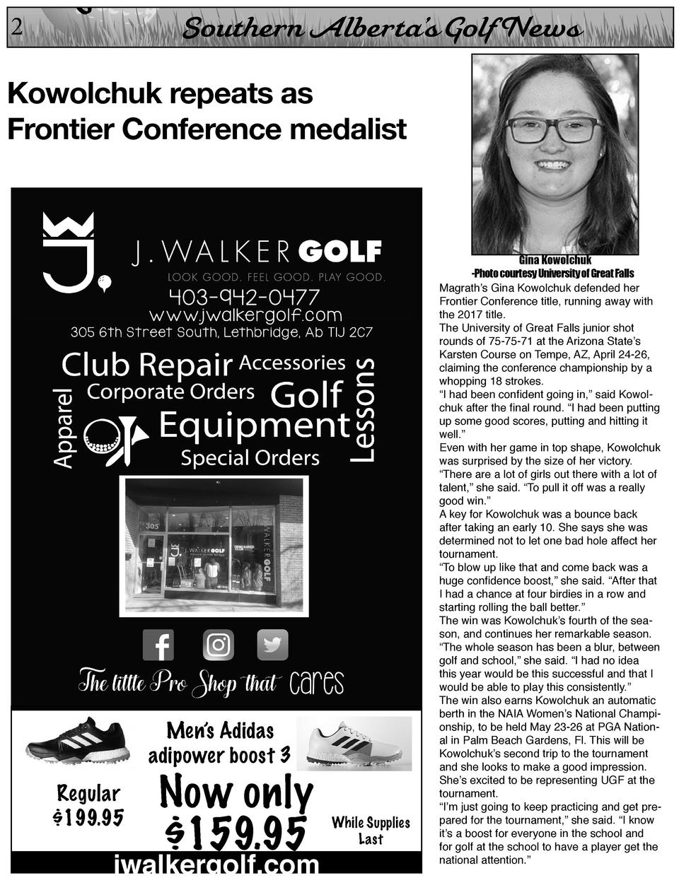 2  On  Southern Alberta   s Golf News  Kowolchuk repeats as Frontier Conference medalist  Men   s Adidas adipower boost 3 ...