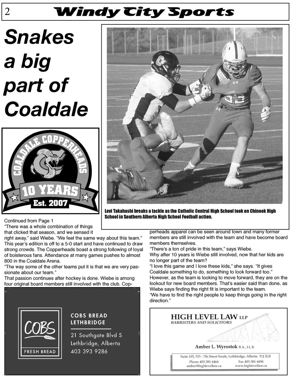 2  Windy City Sports  Snakes a big part of Coaldale  Levi Takahashi breaks a tackle as the Catholic Central High School to...