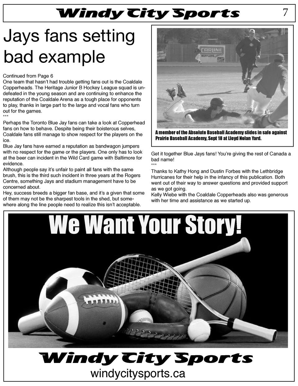 Windy City Sports  7  Jays fans setting bad example Continued from Page 6 One team that hasn   t had trouble getting fans ...