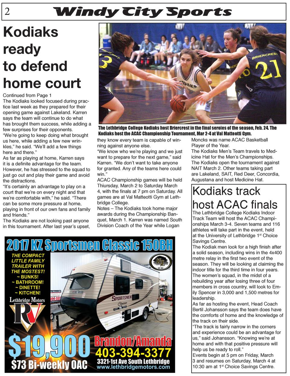 2  Windy City Sports  Kodiaks ready to defend home court  Continued from Page 1 The Kodiaks looked focused during practice...