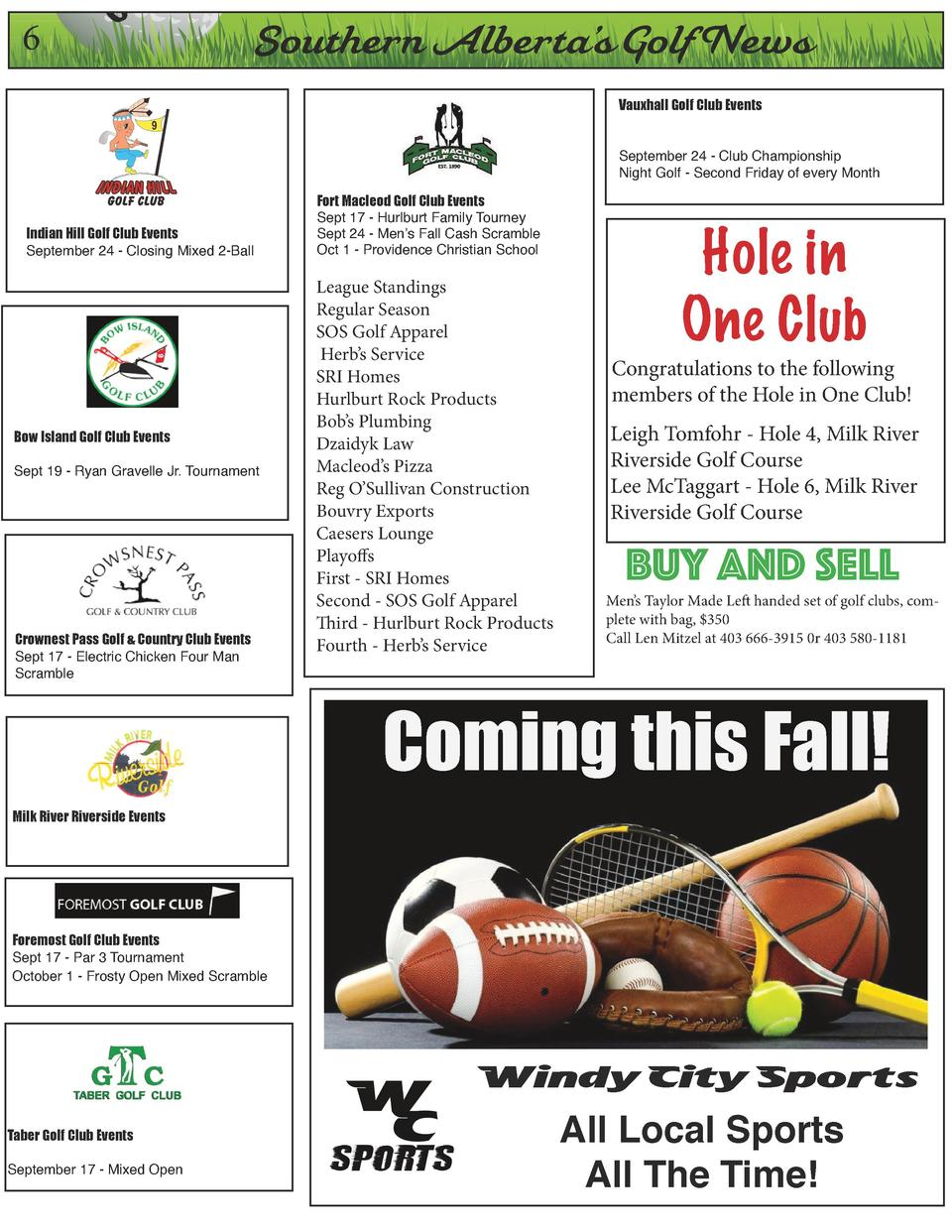6  On  Southern Alberta   s Golf News Vauxhall Golf Club Events September 24 - Club Championship Night Golf - Second Frida...