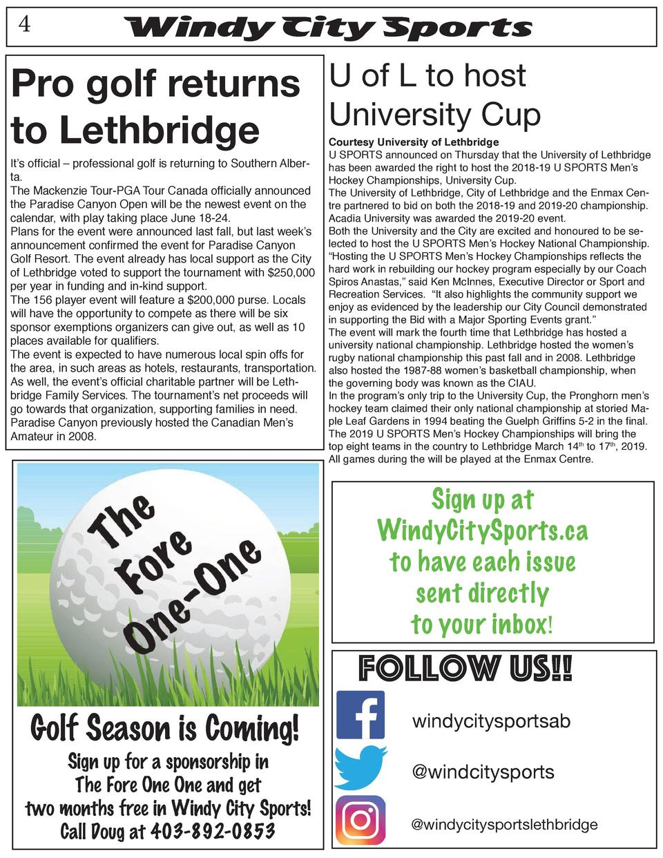 4  Windy City Sports  Pro golf returns U of L to host University Cup to Lethbridge It   s official     professional golf i...