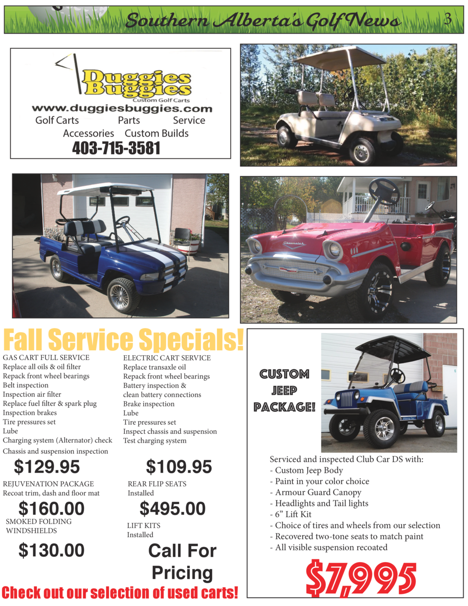 On  Southern Alberta   s Golf News  Fall Service Specials   GAS CART FULL SERVICE Replace all oils   oil filter Repack fro...