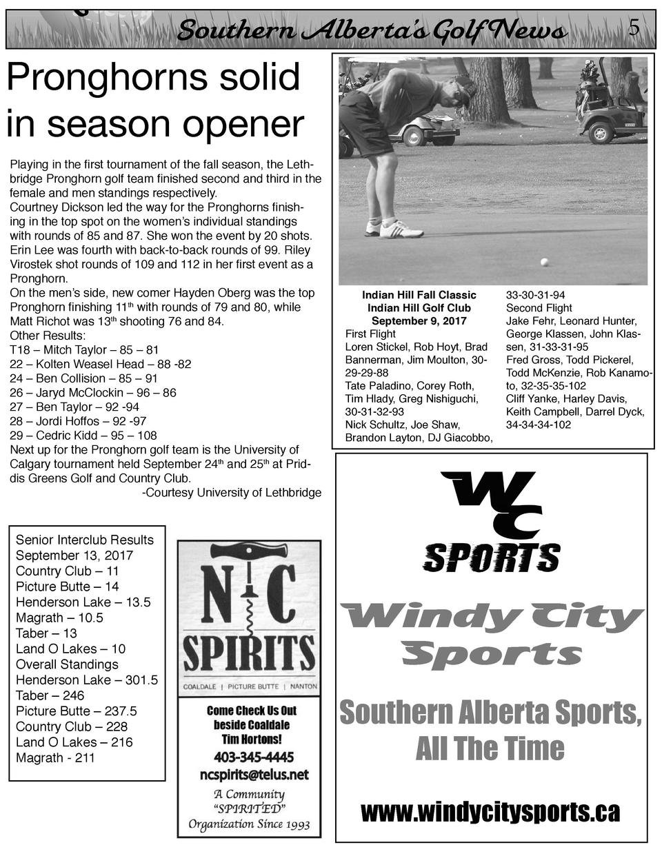 On  Southern Alberta   s Golf News  5  Pronghorns solid in season opener  Playing in the first tournament of the fall seas...