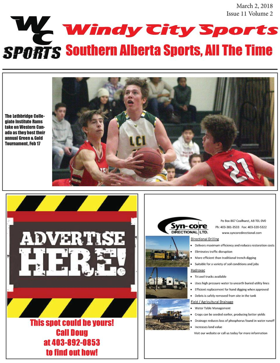 March 2, 2018 Issue 11 Volume 2  Windy City Sports Southern Alberta Sports, All The Time  The Lethbridge Collegiate Instit...