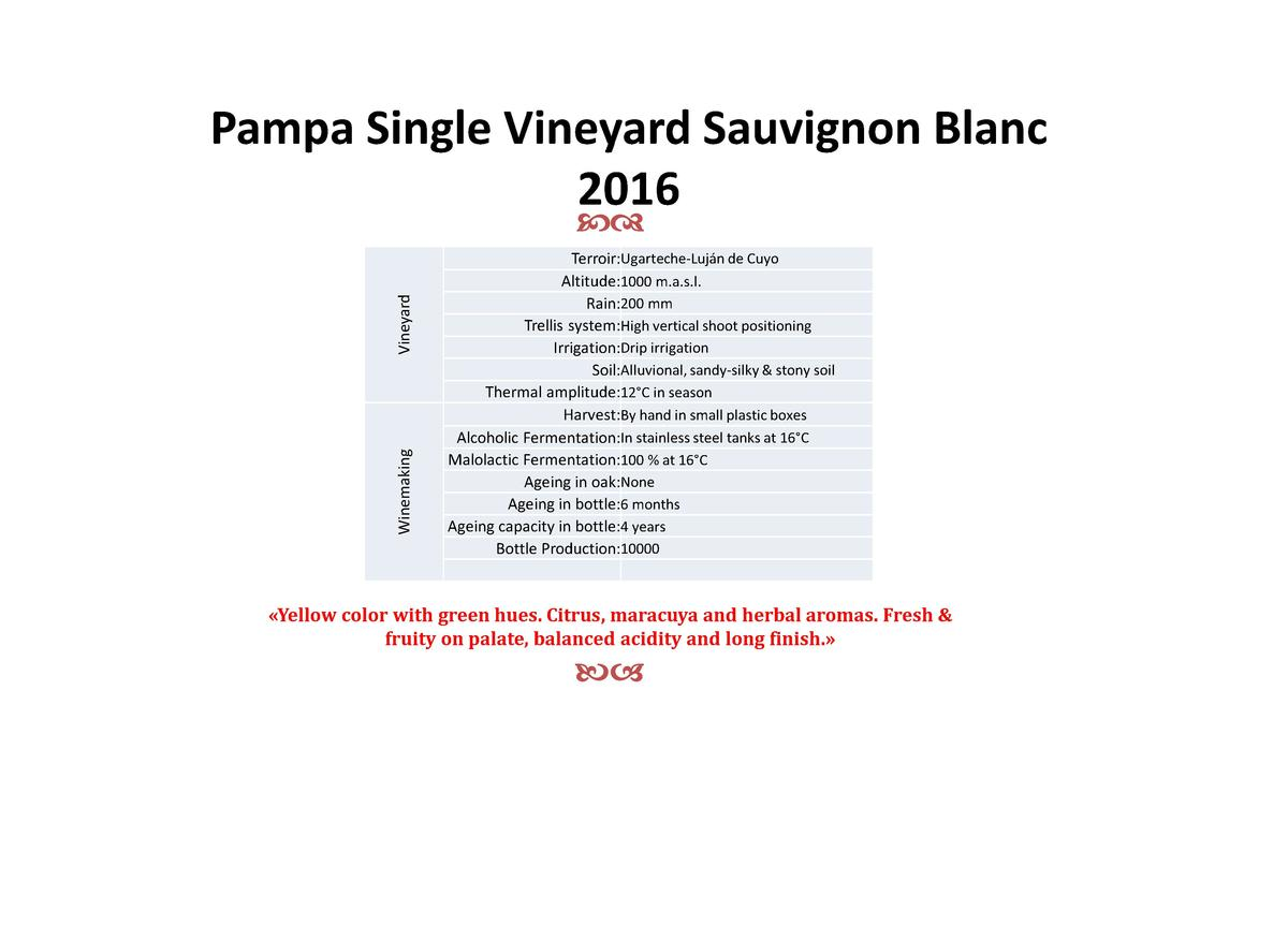 Pampa Single Vineyard Sauvignon Blanc 2016  Winemaking  Vineyard  cd  Terroir Ugarteche-Luj  n de Cuyo Altitude 1000 m.a.s...