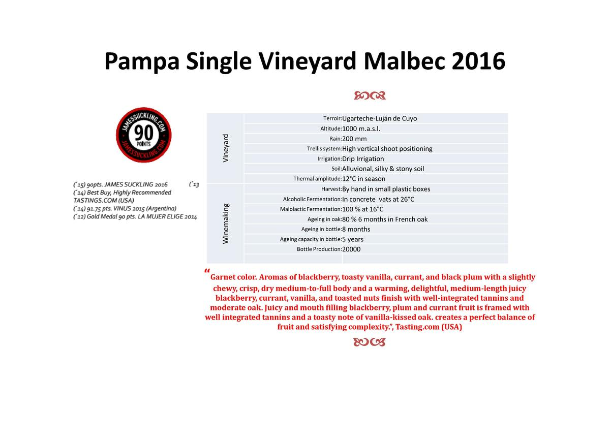 Pampa Single Vineyard Malbec 2016 cd Terroir Ugarteche-Luj  n de Cuyo  Winemaking  Vineyard  Altitude 1000 m.a.s.l. Rain 2...