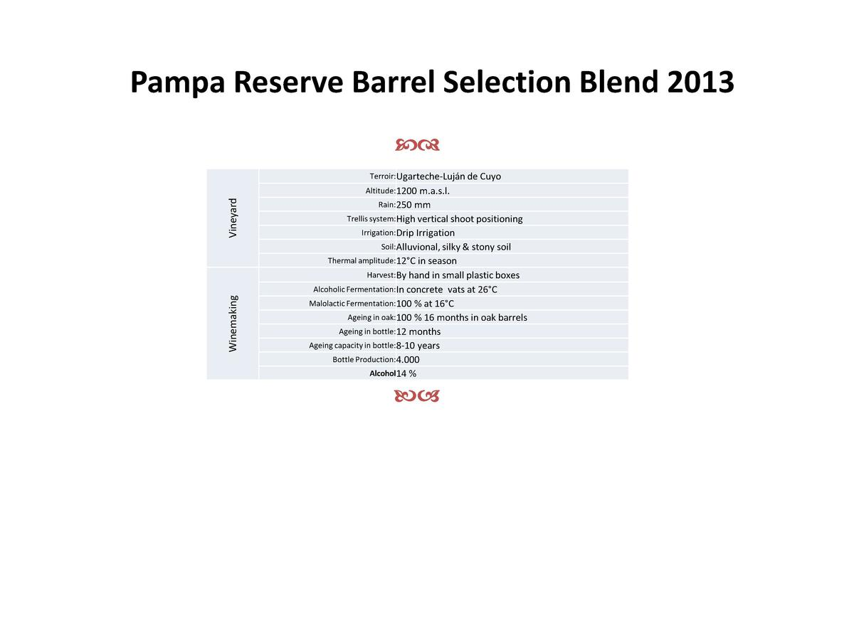 Pampa Reserve Barrel Selection Blend 2013 cd Terroir Ugarteche-Luj  n de Cuyo  Winemaking  Vineyard  Altitude 1200 m.a.s.l...
