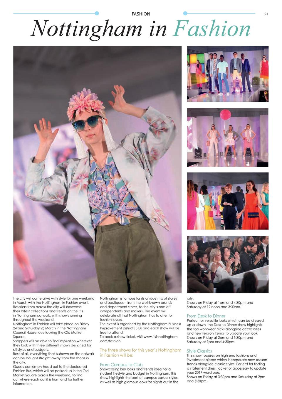 FASHION  Nottingham in Fashion  The city will come alive with style for one weekend in March with the Nottingham in Fashio...