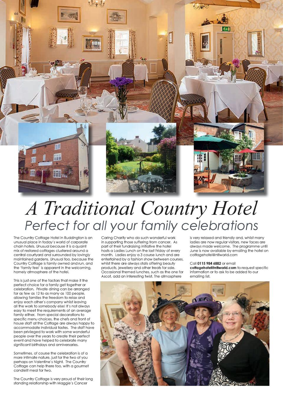 66  SHOPPING  The secret to the perfect shopping trip  A Traditional Country Hotel  Perfect for all your family celebratio...