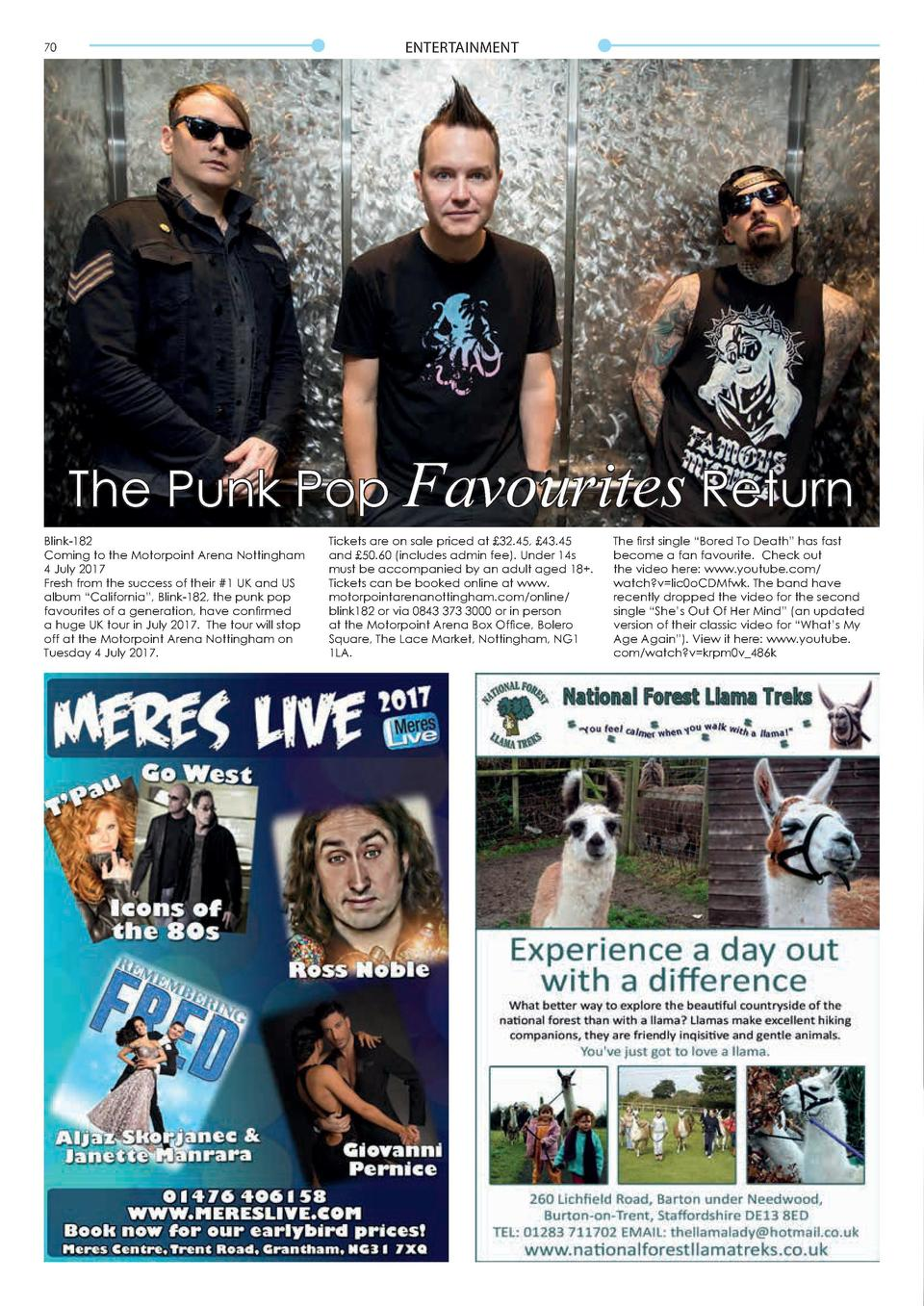 ENTERTAINMENT  70  Don   t Miss... The Punk Pop Favourites Return Blink-182 Coming to the Motorpoint Arena Nottingham 4 Ju...