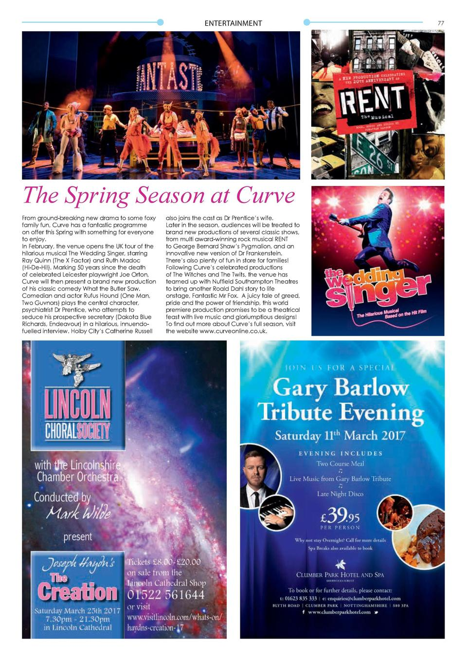 ENTERTAINMENT  The Spring Season at Curve From ground-breaking new drama to some foxy family fun, Curve has a fantastic pr...
