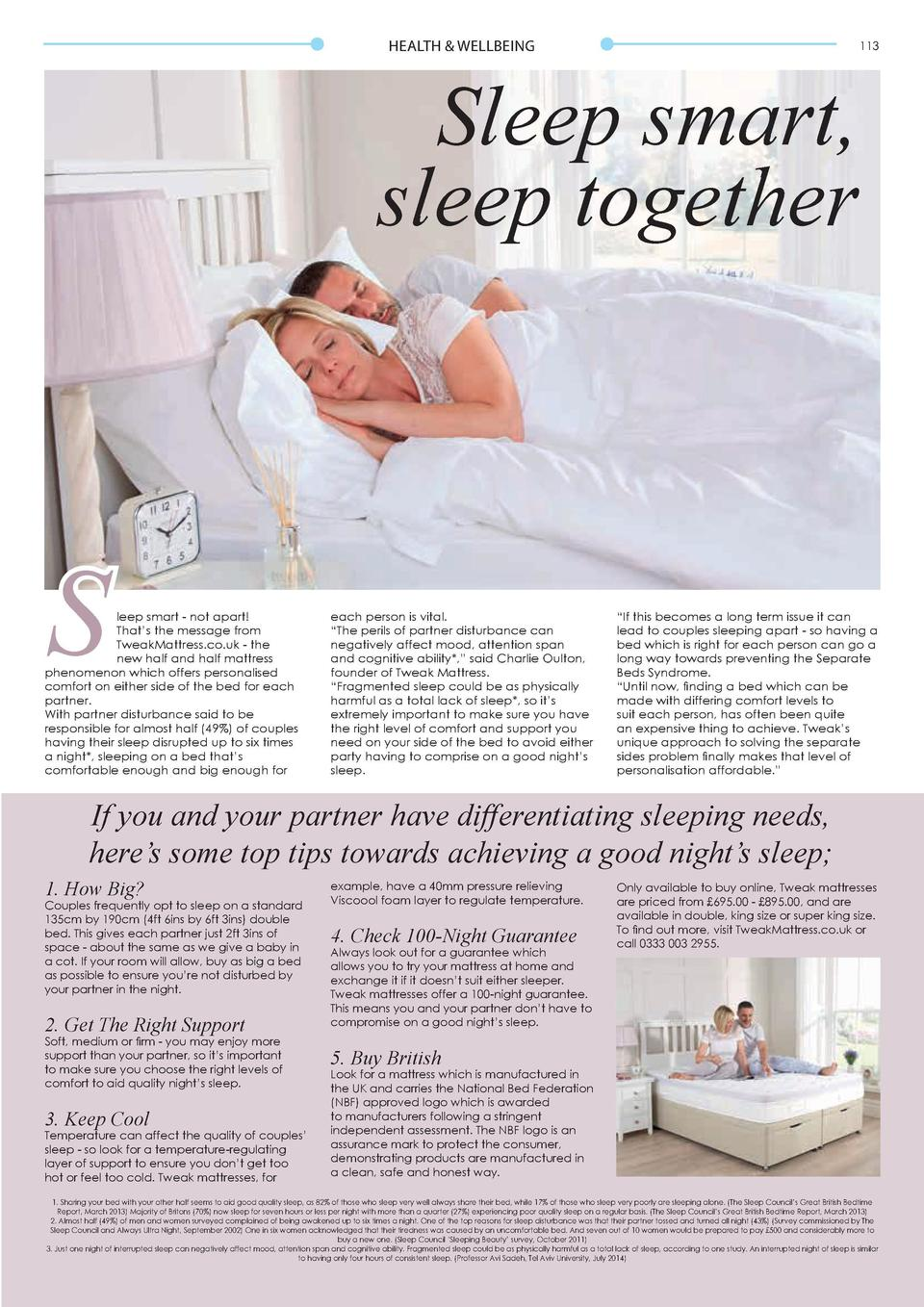 HEALTH   WELLBEING  112  Sleep smart, sleep together  Back to Basics We   re all familiar with the fuss and bother of New ...