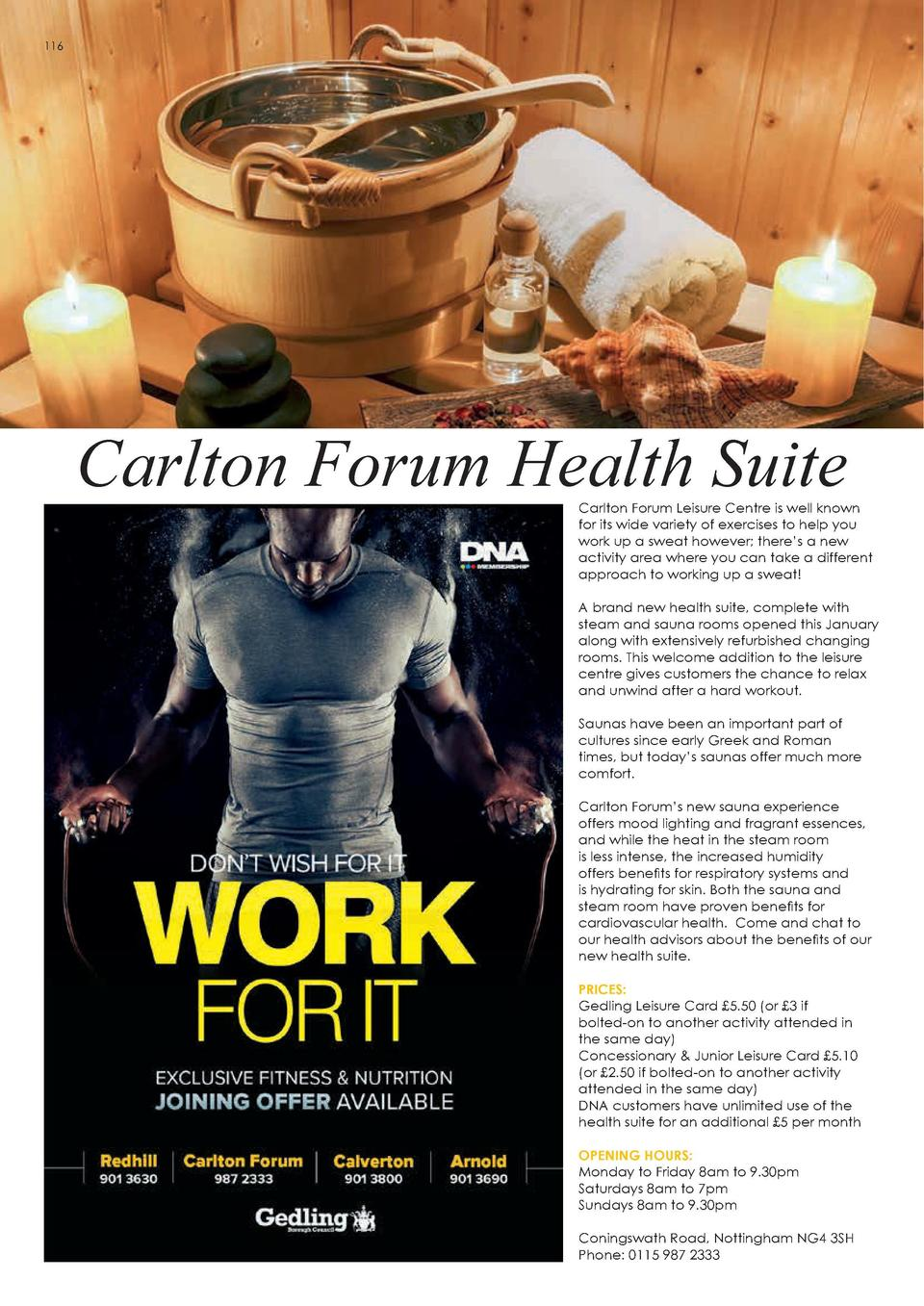 HEALTH   WELLBEING  116  Nature   s Best Solution  Carlton Forum Health Suite  Carlton Forum Leisure Centre is well known ...