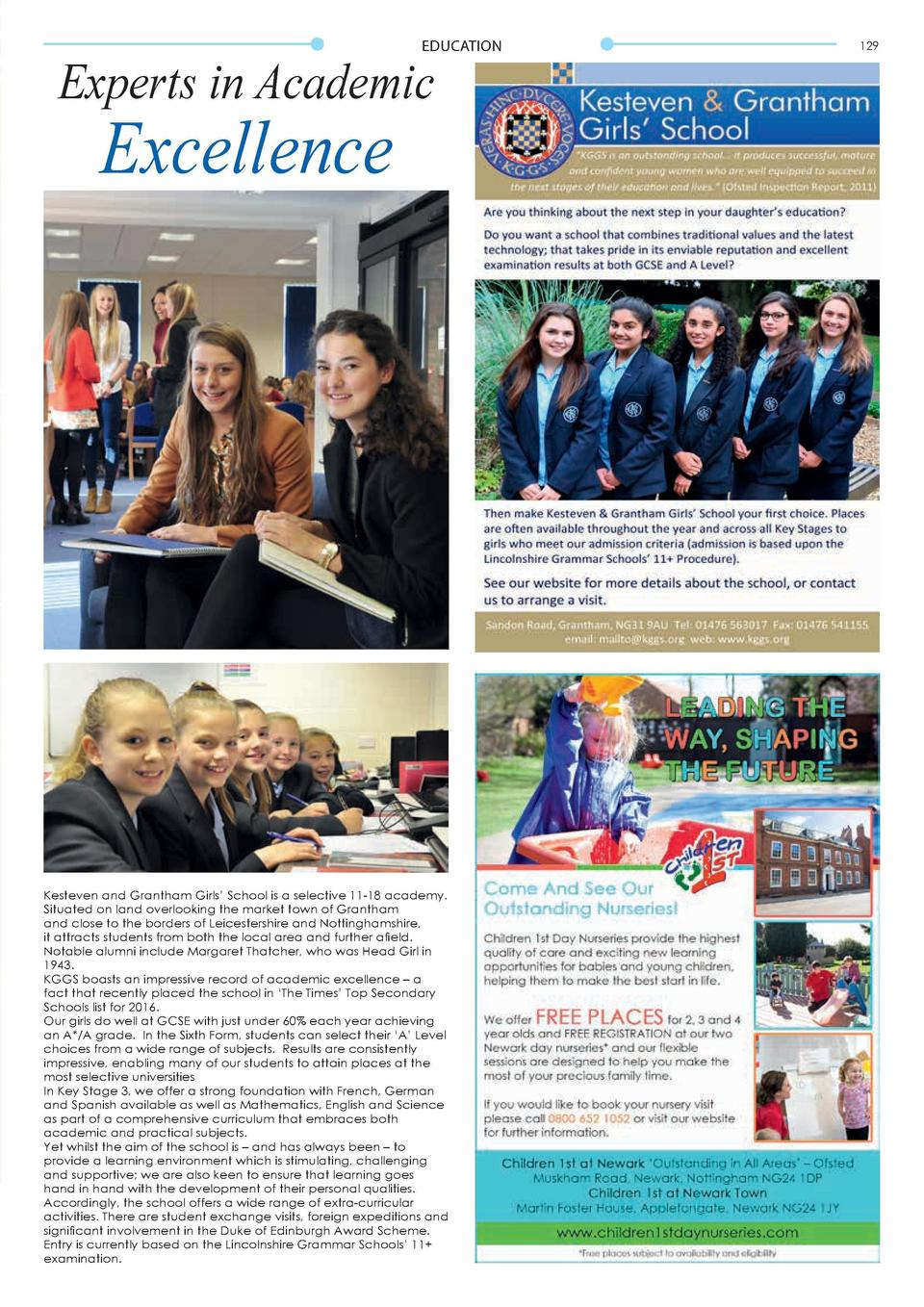 EDUCATION  Experts in Academic  Excellence  Kesteven and Grantham Girls    School is a selective 11-18 academy. Situated o...