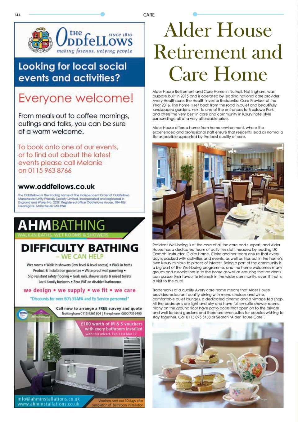 144  CARE  Alder House Retirement and Care Home Alder House Retirement and Care Home in Nuthall, Nottingham, was purpose b...