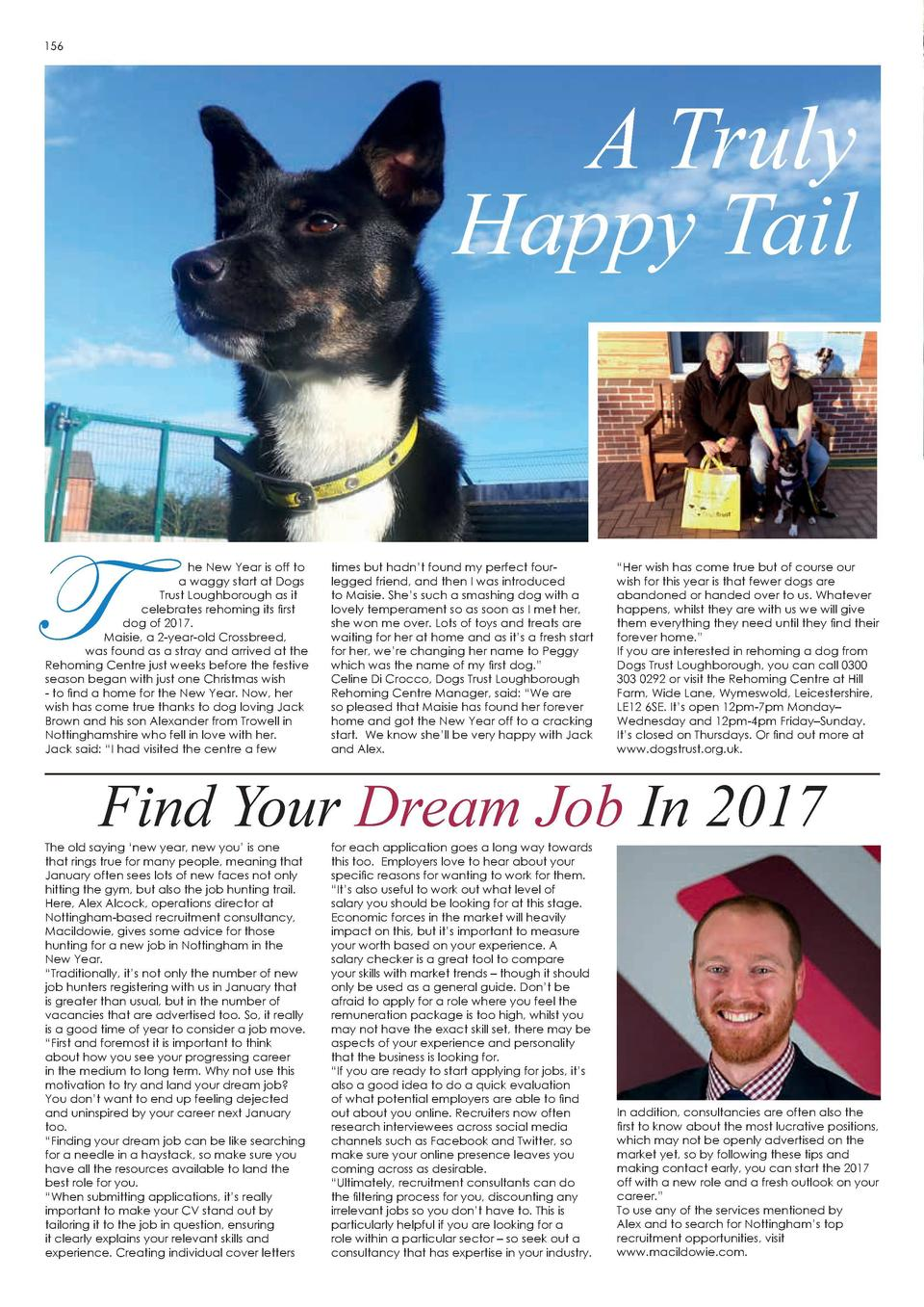 156  A Truly Happy Tail  T  he New Year is off to a waggy start at Dogs Trust Loughborough as it celebrates rehoming its f...
