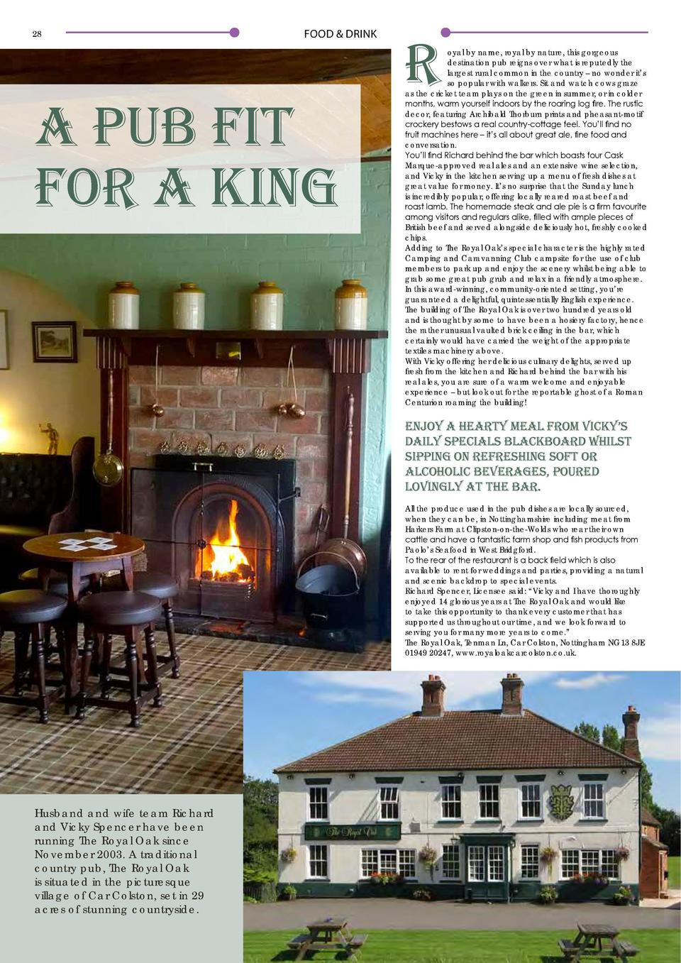28  FOOD   DRINK  A Pub Fit for a King  R  FOOD   DRINK  oyal by name, royal by nature, this gorgeous destination pub reig...