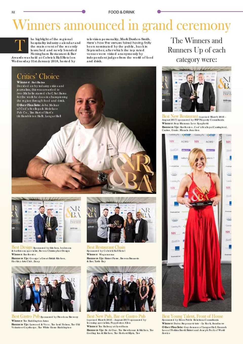 FOOD   DRINK  32  33  Winners announced in grand ceremony  T  he highlight of the regional hospitality industry calendar a...
