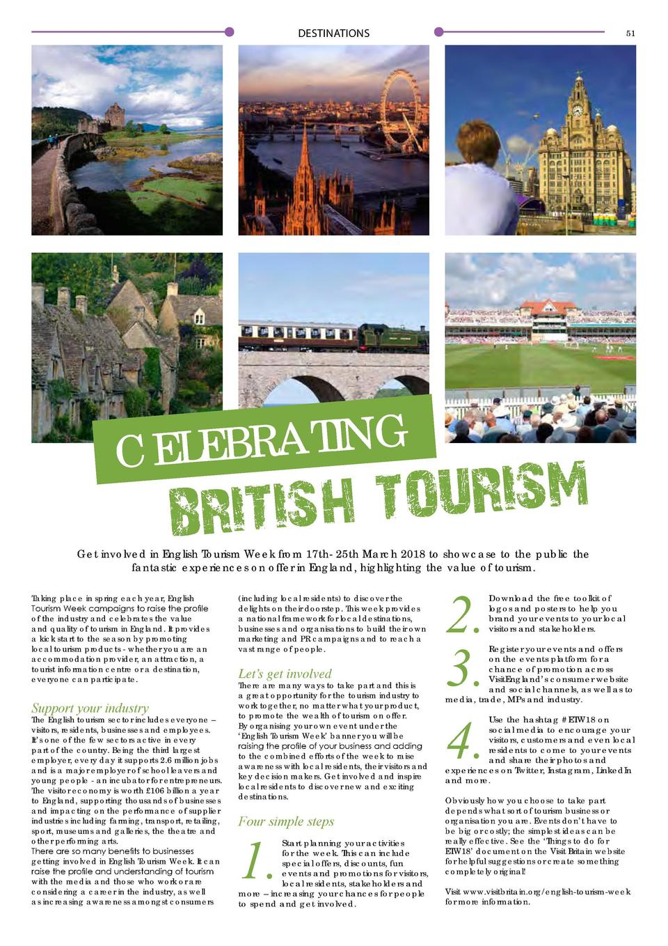 DESTINATIONS  51  G N I T A R B E CEL  M S I R U O T BRITISH  Get involved in English Tourism Week from 17th- 25th March 2...