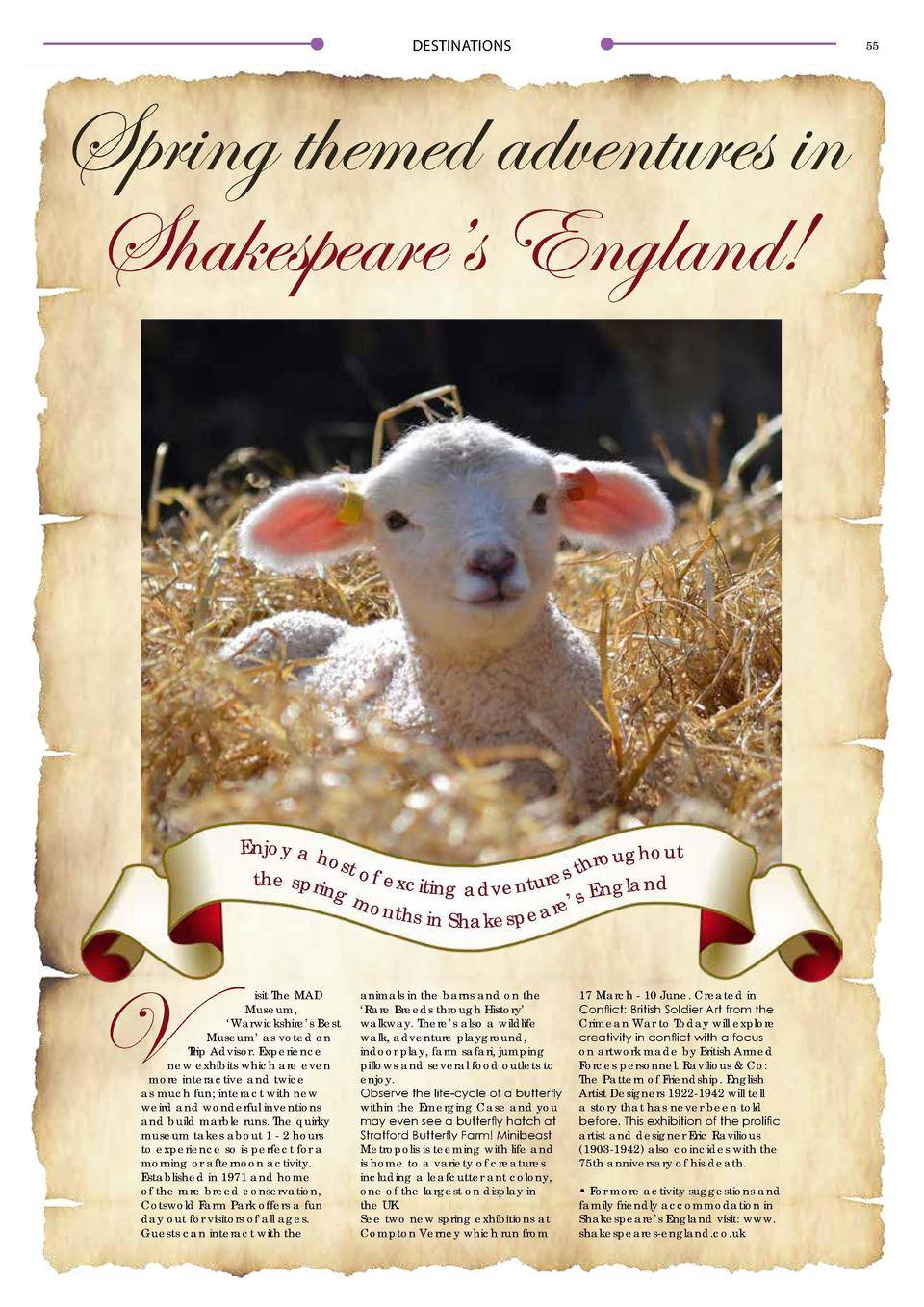 DESTINATIONS  54  DESTINATIONS  Embrace the Outdoors in Warwickshire  55  Spring themed adventures in Shakespeare   s Engl...