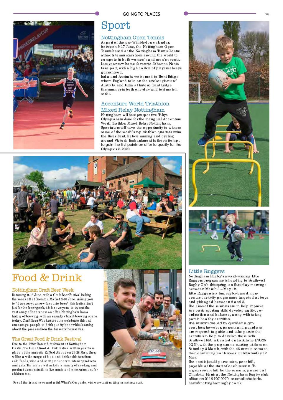 GOING TO PLACES  Event Highlights  74  GOING TO PLACES  75  Sport Nottingham Open Tennis  As part of the pre-Wimbledon cal...