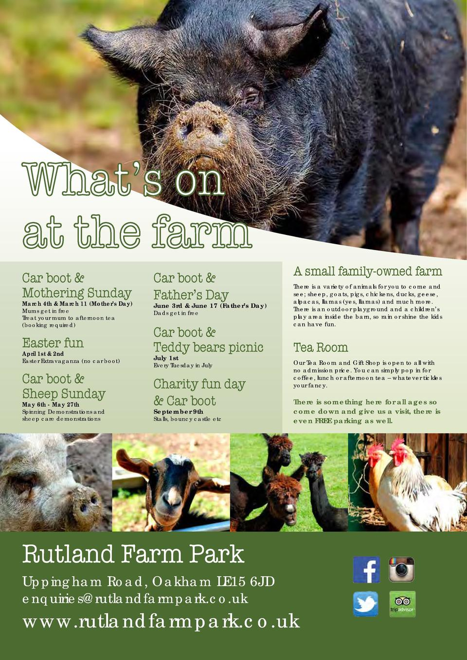 GOING TO PLACES  Fun for all the family What   s on at the farm Car boot   Mothering Sunday   Car boot   Father   s Day  M...