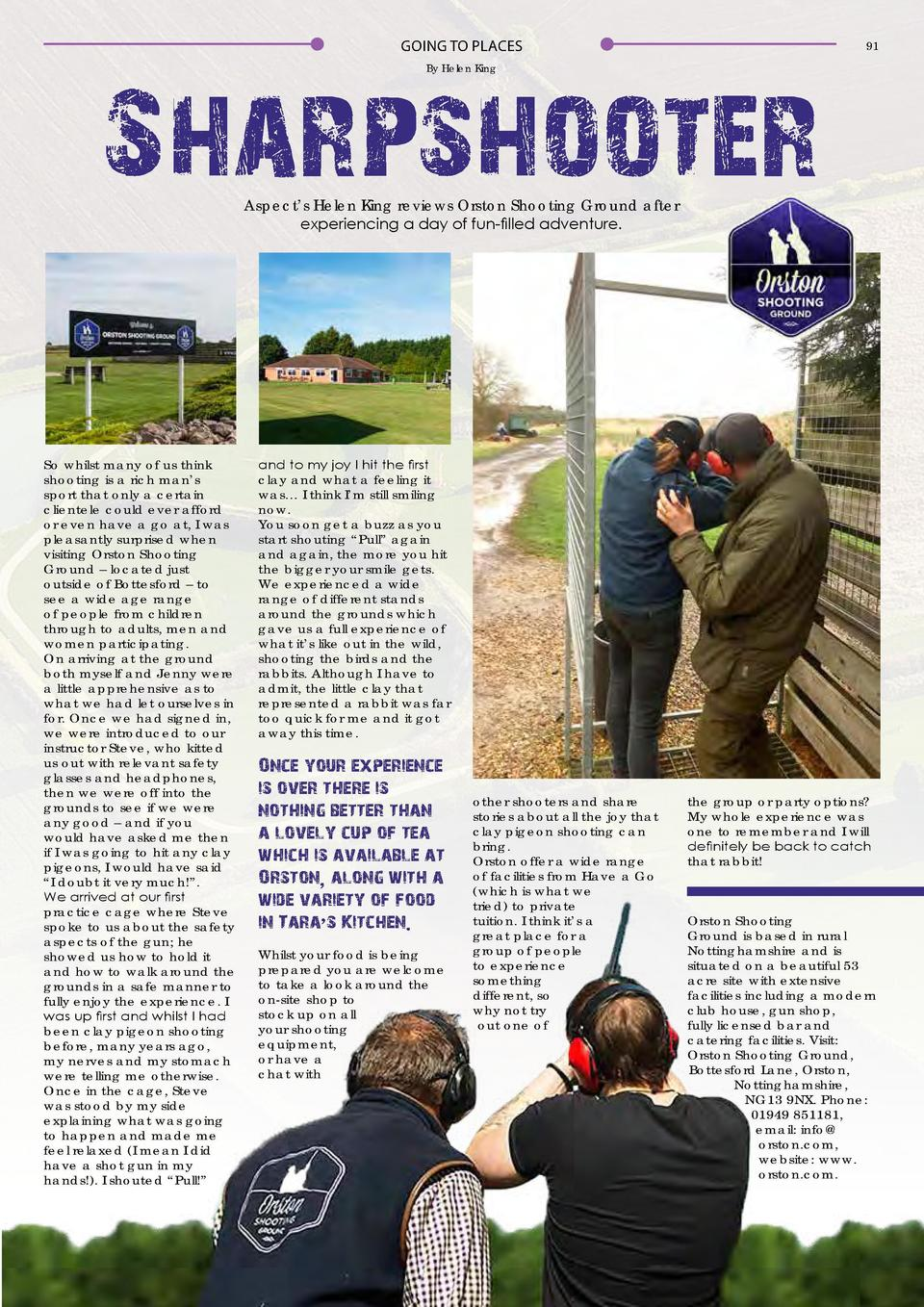 GOING TO PLACES  91  By Helen King  Sharpshooter Aspect   s Helen King reviews Orston Shooting Ground after experiencing a...