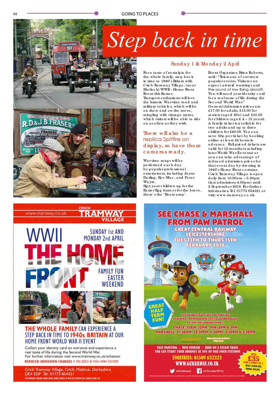 92  GOING TO PLACES  Step back in time Sunday 1   Monday 2 April For a taste of nostalgia for the whole family, step back ...