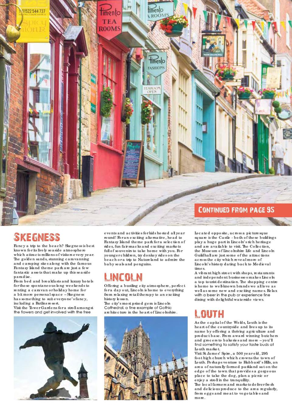 96  VISIT LINCOLNSHIRE  Continued from page 95  Skegness  Fancy a trip to the beach  Skegness is best known for its lively...