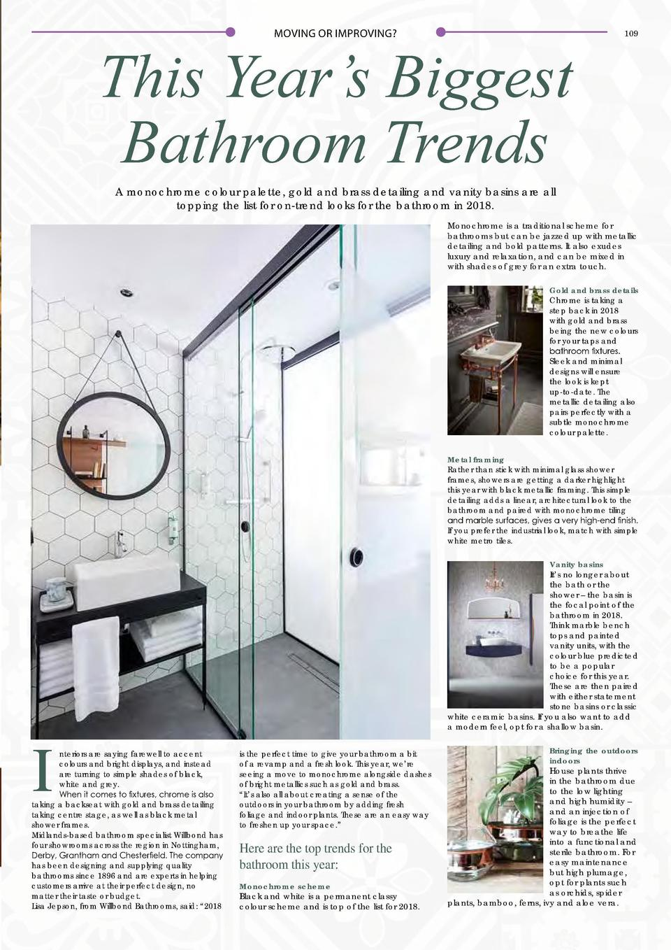 MOVING OR IMPROVING   This Year   s Biggest Bathroom Trends  109  A monochrome colour palette, gold and brass detailing an...