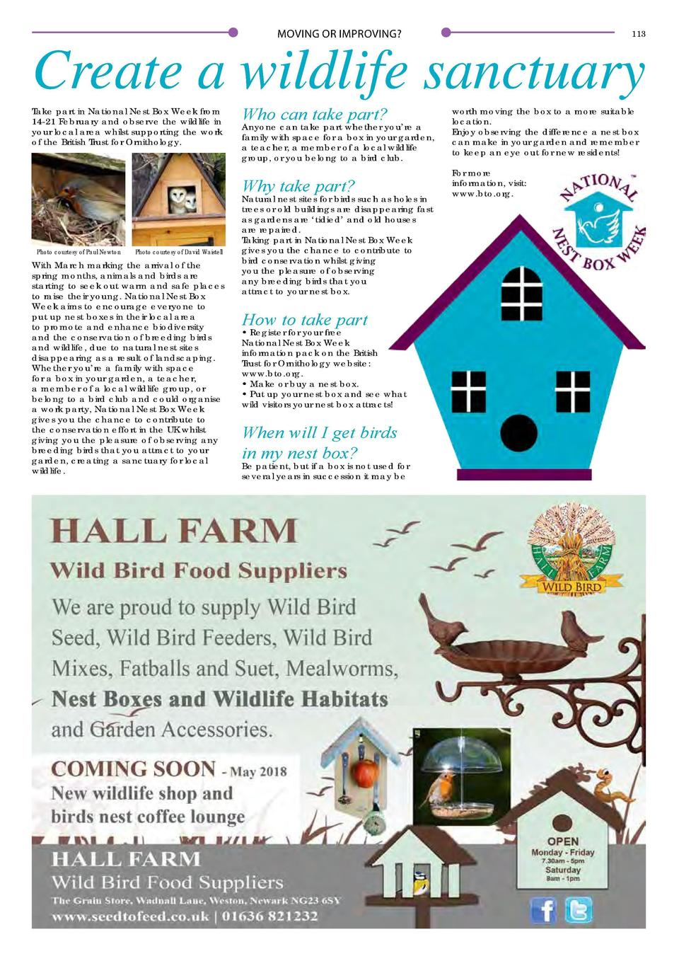 112  MOVING OR IMPROVING   MOVING OR IMPROVING   113  Create a wildlife sanctuary Take part in National Nest Box Week from...