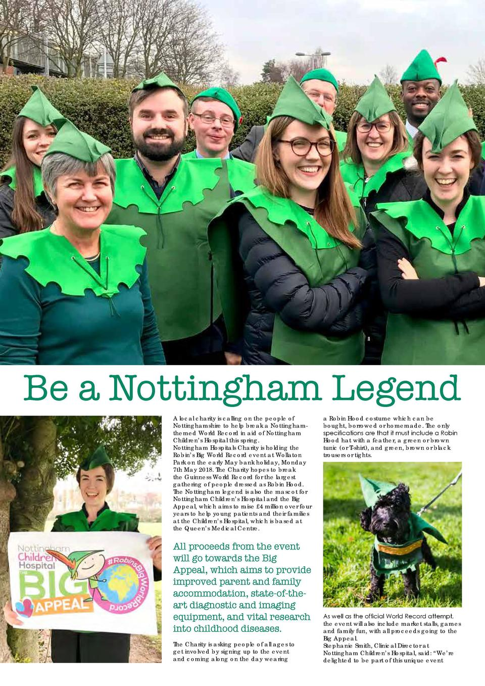 13  Be a Nottingham Legend A local charity is calling on the people of Nottinghamshire to help break a Nottinghamthemed Wo...