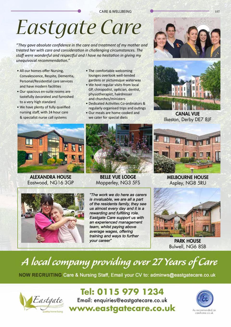 CARE   WELLBEING  156  CARE   WELLBEING  Eastgate Care  Quality Home Living Situated within stunning surroundings, Canal V...