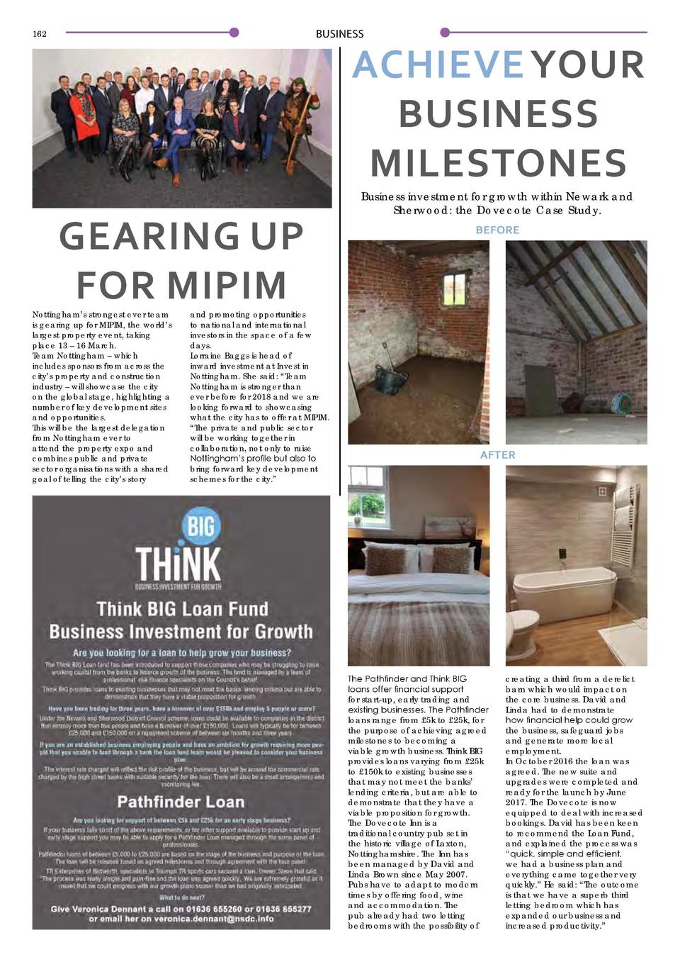 BUSINESS  162  ACHIEVE YOUR BUSINESS MILESTONES  GEARING UP FOR MIPIM  Nottingham   s strongest ever team is gearing up fo...