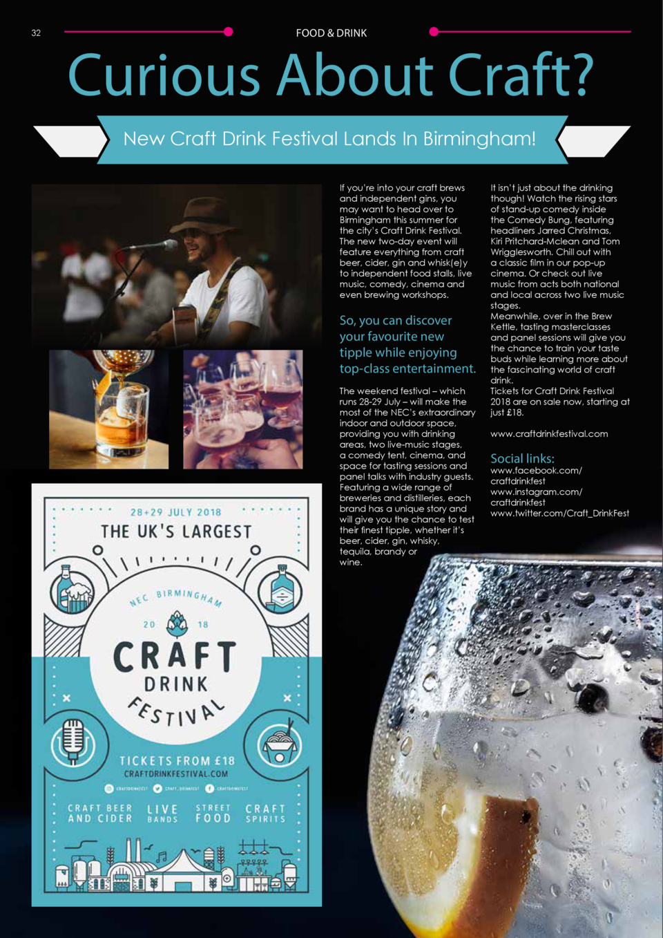 32  FOOD   DRINK  Curious About Craft  New Craft Drink Festival Lands In Birmingham  If you   re into your craft brews and...