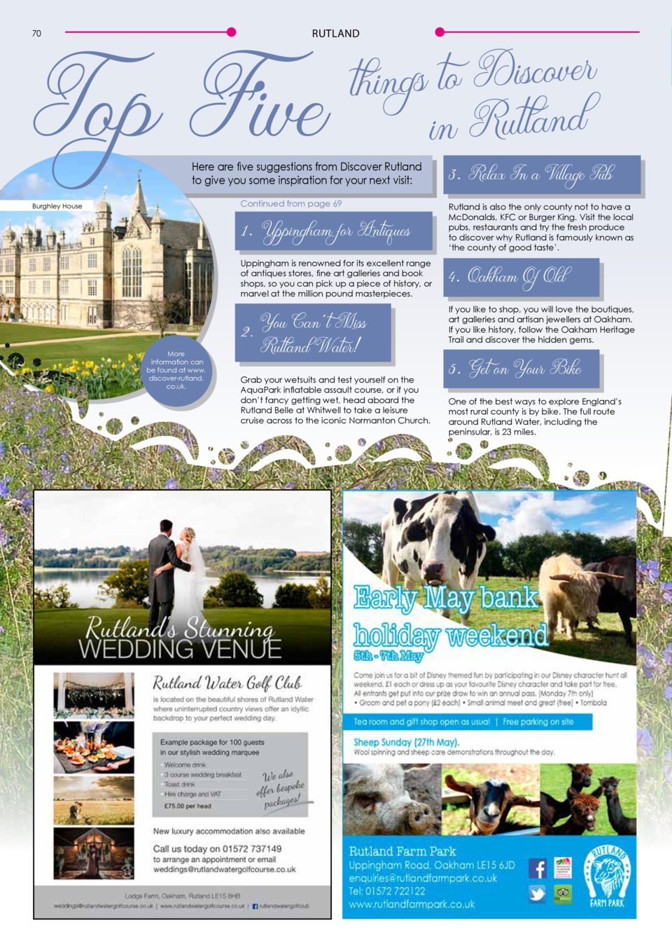 Top Five  r e v o c is D to s g in th d n a tl u R in    RUTLAND  70  Here are five suggestions from Discover Rutland to g...