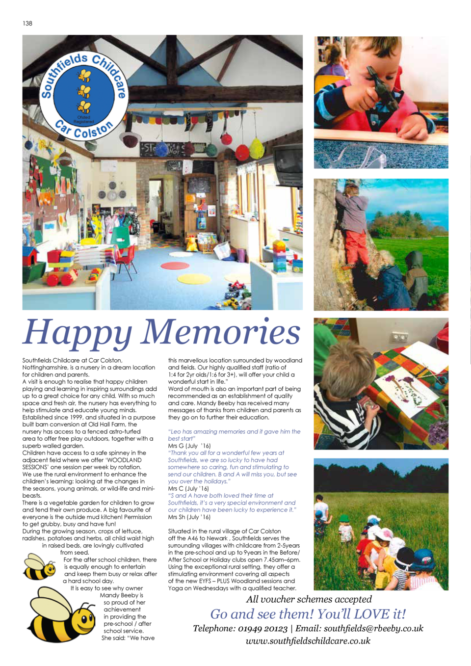 138  139  CHATSWORTH   Past, Present and Future  Happy Memories Southfields Childcare at Car Colston, Nottinghamshire, is ...