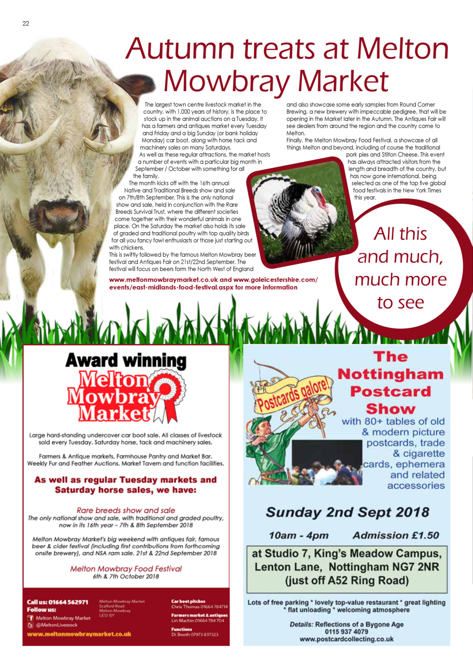 COMPETITION  22  Autumn treats at Melton Mowbray Market The largest town centre livestock market in the country, with 1,00...